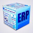 Vector de stock : Tag cloud cube. Enterprise resource planning concept.