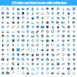 Set of black and blue icons with reflection. — Imagens vectoriais em stock