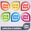 Colorful bubbles: click here - Stock Vector
