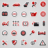 Automotive rode stickers. — Stockvector