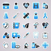 Medycyna niebieski naklejki — Wektor stockowy