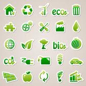 Klistermärken om ekologi koncept. — Stockvektor