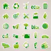 Stickers about ecology concept. — Stok Vektör