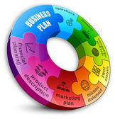 Kreis-puzzle: business-plan-konzept. — Stockvektor