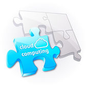 Puzzle: cloud computing concept. — Stock Vector