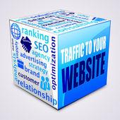 куба: концепции web трафика. — Cтоковый вектор