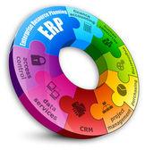 Puzzle circolare. concetto di pianificazione delle risorse aziendali. — Vettoriale Stock