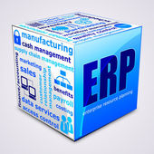 Tag cloud cube. Enterprise resource planning concept. — Stock Vector