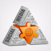 Prism puzzle: Social media concept. — Stock Vector
