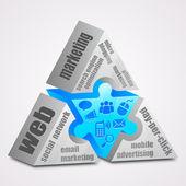Prism puzzle: Web marketing concept. — Stock Vector