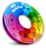 Okrągłe puzzle, koncepcja marketingu internetowego — Wektor stockowy
