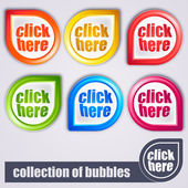 Colorful bubbles: click here — Stock Vector