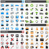 Icons set: travel, medicine, ecology and school. — Stock Vector