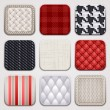 Apps set. Textile textures. Square backgrounds. — Imagen vectorial