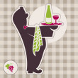 Stock Vector: Icon of waiter with drink. Wine & spirit menu.
