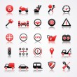 Stok Vektör: Automotive red icons with reflection.