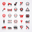 Stock Vector: Automotive red icons with reflection.