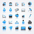 Stock Vector: Blue business icons with reflection