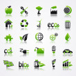 ストックベクタ: Ecology icons with reflection.