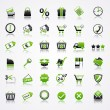 Vector de stock : Shopping icons with reflection.