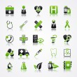 Stock Vector: Icons set with reflection: Medicine