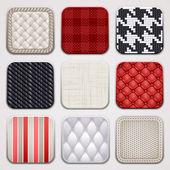 Apps set. Textile textures. Square backgrounds. — Stock Vector