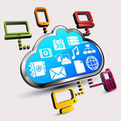 Cloud computing: Different devices are accessing to files in the cloud — Stock Vector