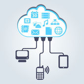 Cloud computing: Different devices are accessing to documents in the cloud — Stock Vector
