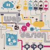Web design concept: cloud computing, sociale netwerken, inhoud aandeel — Stockvector