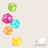 Subjects cubes. I love school. — Stock Vector