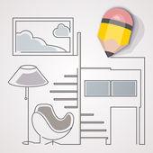 Interior design concept. A pencil sketching interior design. — Stock Vector