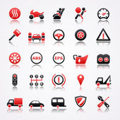 Automotive red icons with reflection. — Stock Vector