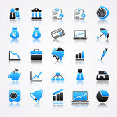 Blue business icons with reflection — Stock Vector
