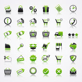 Shopping icons with reflection. — Vector de stock