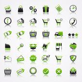 Zakupy ikony z odbiciem. — Wektor stockowy