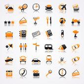 Reizen oranje pictogrammen met reflectie — Stockvector