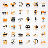 Travel orange icons with reflection — Vector de stock
