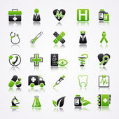 Icons set with reflection: Medicine — Stock Vector