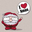 "Character funny of Santa Claus with a bubble ""I love Xmas"" — Stok Vektör"