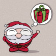 Character funny of Santa Claus with a bubble with a gift. — Stock vektor