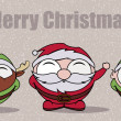 Characters funny of a reindeer, Santa Claus and elf. — Stock Vector