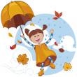 Girl with umbrella playing with the fall leaves and rain. — Stock vektor