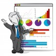 Cartoon of businessman in a presentation. Business concept. — Vettoriali Stock