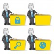 Cartoon of a businessman with folder. Computing concept. — Stockvectorbeeld