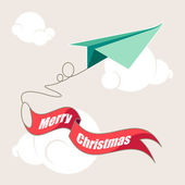 Merry Christmas and Happy New Year. Origami airplane — Stock Vector
