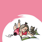 A girl is reading with a cat. — Stock Vector