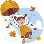 Girl with umbrella playing with the fall leaves and rain. — Stockvector