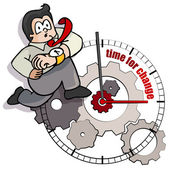 A businessman cartoon is running towards change on the time. — Stock Vector