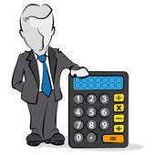 Cartoon of businessman with a calculator. Financial concept — Stock Vector