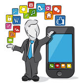 Cartoon of a businessman with apps for smartphone. — Stock Vector